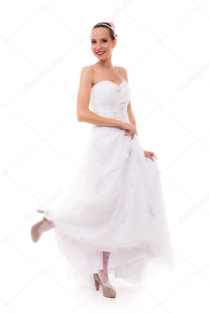 andar en vestido de novia blanco posando — Foto de stock © Voyagerix ...