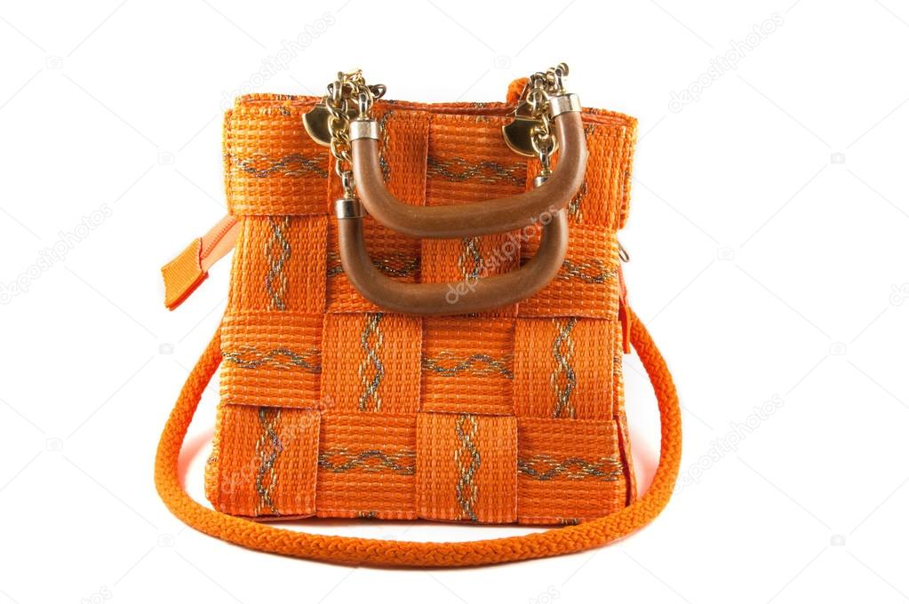 5112adb6d bolsa laranja com alça de ombro-corrente — Stock Photo © DeKiR #64845029