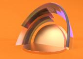 Abstract composition with podium. Futuristic interior orange. 3D illustration