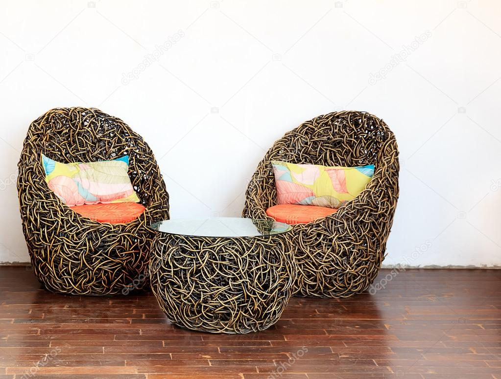Round Wicker Chairs with Glass Table and Colorful pillows u2014 Stock Photo & Round Wicker Chairs with Glass Table and Colorful pillows u2014 Stock ...