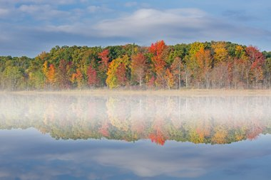 Autumn Deep Lake in Fog