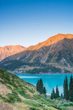 Highland Big Almaty Lake in the mountains of Trans-Ili Alatau near Almaty