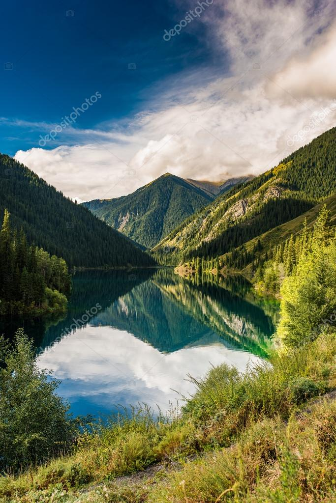 Kolsay mountain lake in Kazakhstan