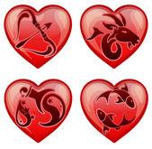 set stylish zodiac signs in the shape  heart, vector illustration