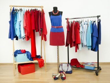 Wardrobe with red and blue clothes arranged on hangers.