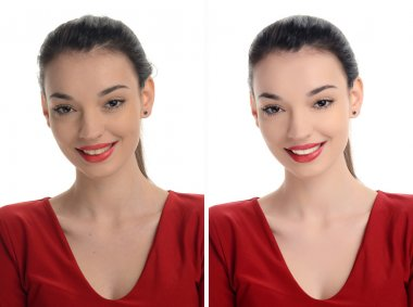 Portrait of a beautiful young woman with sexy red lips smiling before and after retouching with photoshop.