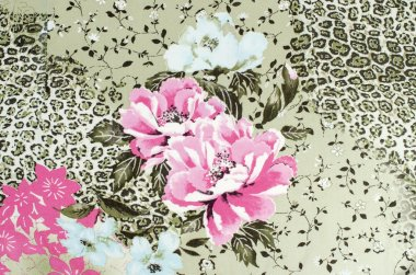 Floral and cheetah pattern on fabric.