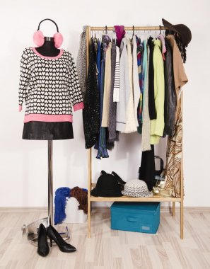 Wardrobe with winter clothes arranged on hangers and an outfit on mannequin.