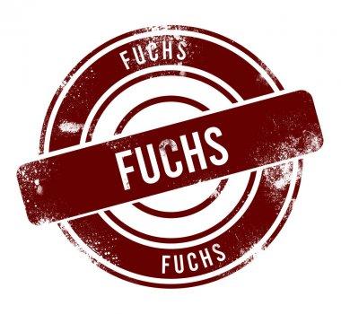 Fuchs - red round grunge button, stamp stock vector