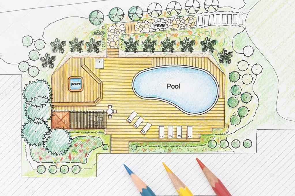 Architetto paesaggista disegni piano cortile con piscina for Disegni di ville