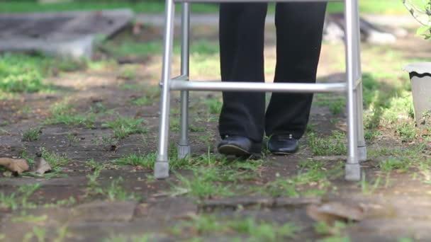 Elderly woman using walker to support herself in backyard.
