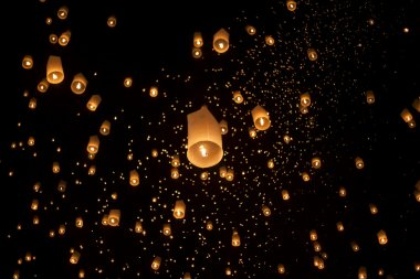 Floating asian lanterns in Chiang Mai Thailand