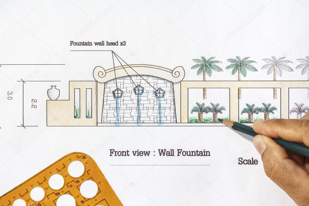 Landscape architect design modern wall fountain in asian style landscape architect design modern wall fountain in asian style stock photo ccuart Image collections