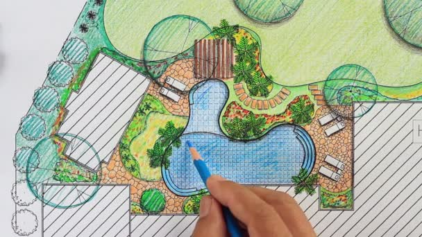 Zahradní architekt navrhnout dvorku plán pro villa