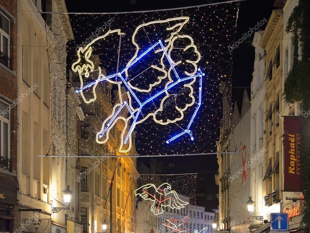 Kerst verlichting in Brussel, België – Redactionele stockfoto ...