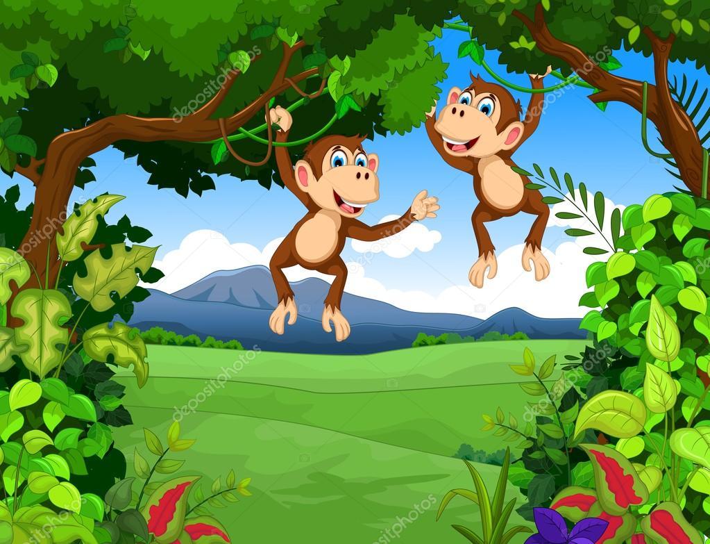 Fondos De Animales Animados: Dibujos Animados De Monos Con Fondo De Paisaje