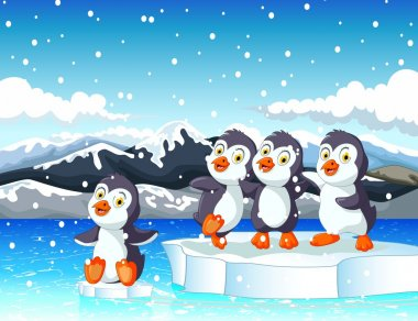 funny  four penguins cartoon with snow landscape background