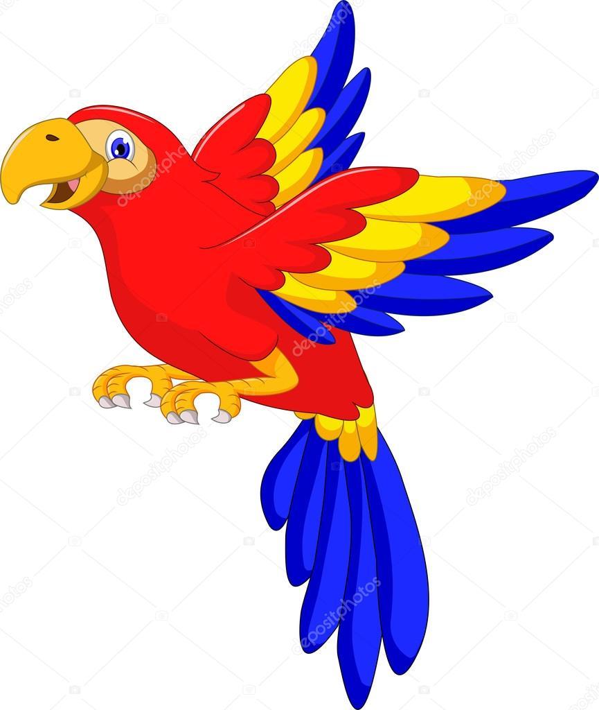 dibujos animados de aves guacamaya volando — Vector de stock ...