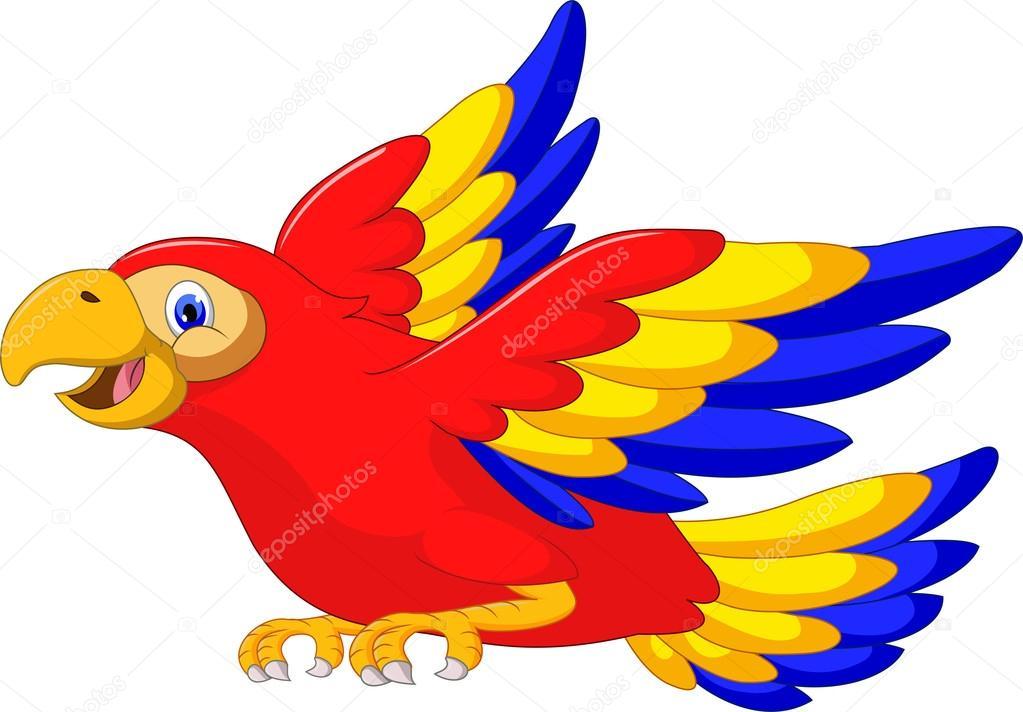 Dibujos Animados De Aves Guacamaya Volando Vector De Stock