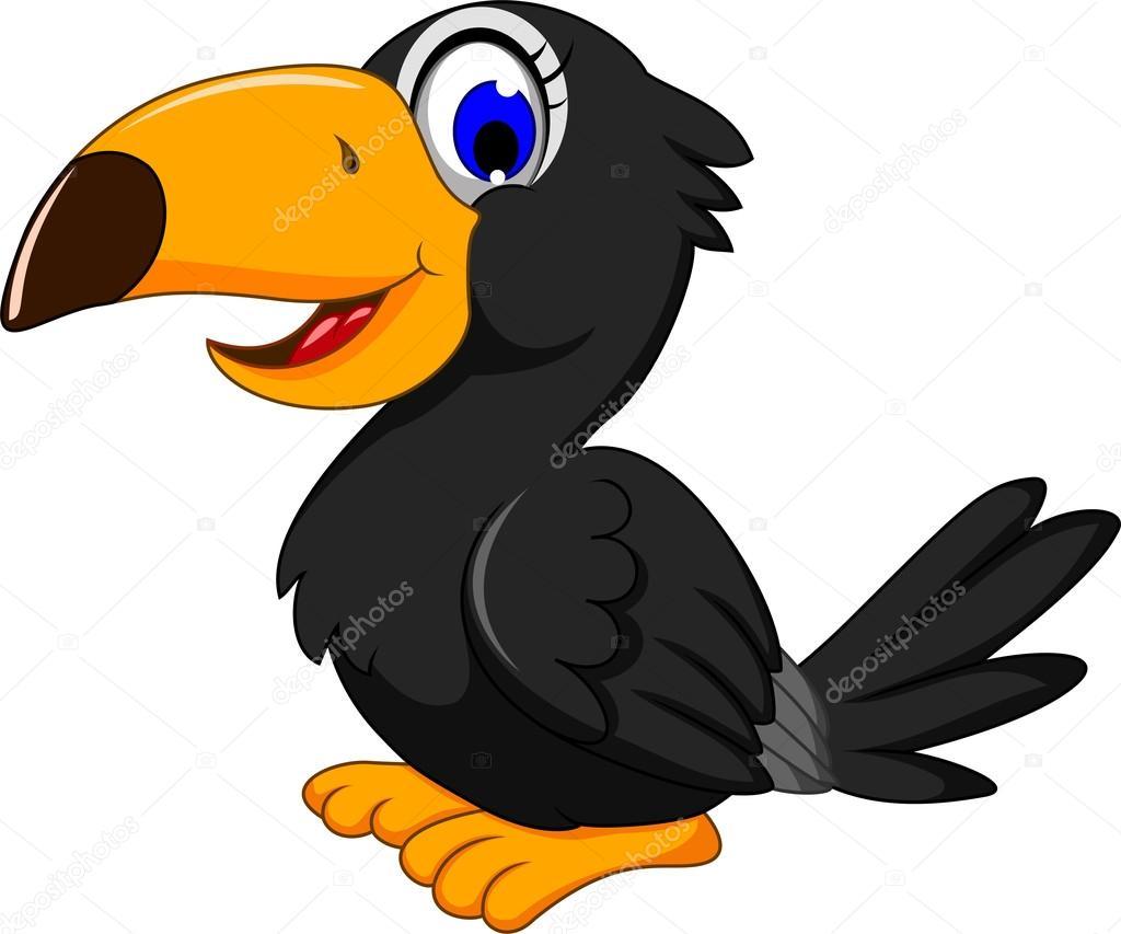 Dibujos Animados Lindo De Pájaros Negros Archivo Imágenes