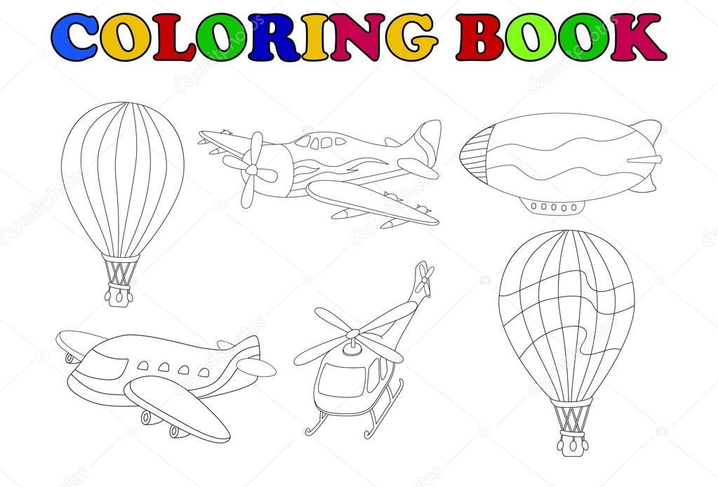 colorear libro de transporte aéreo conjunto de dibujos animados ...