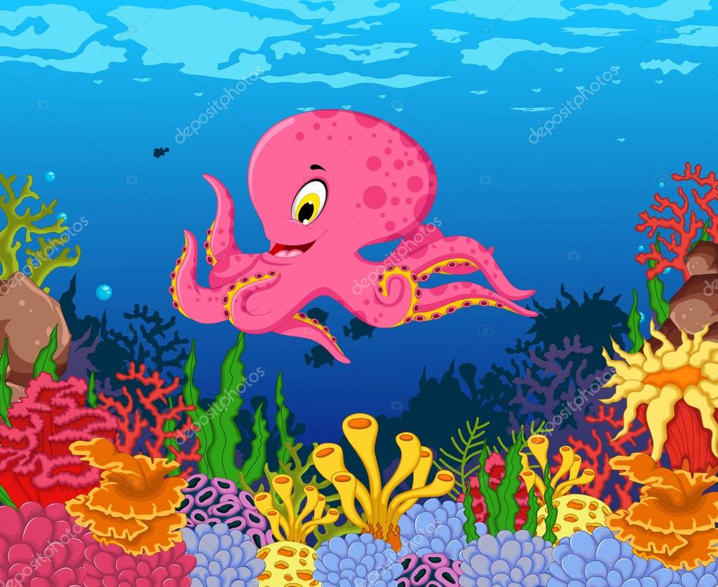 Kreslene Vtipne Chobotnice Krasy More Zivota Zazemi Stock Vektor