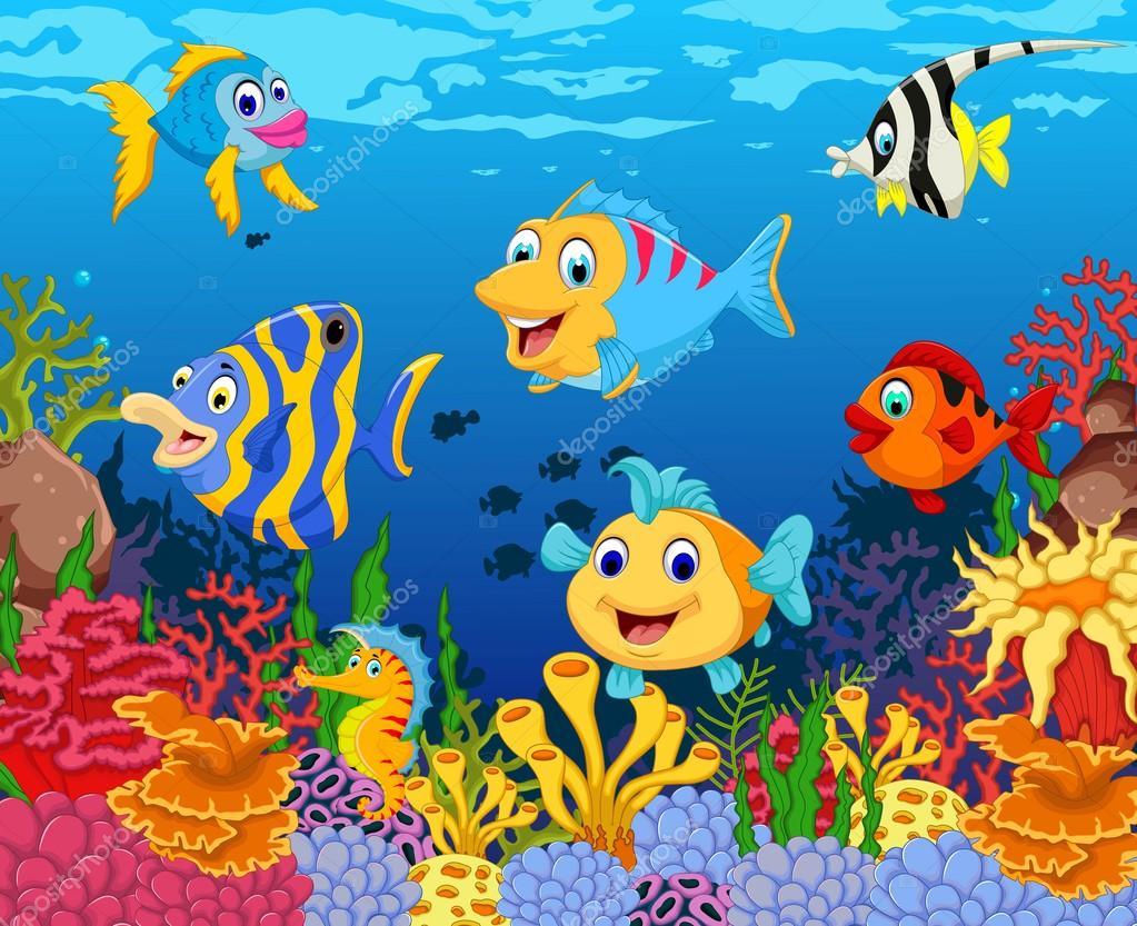 Dibujos Animados Divertidos De Pescado Con Fondo De