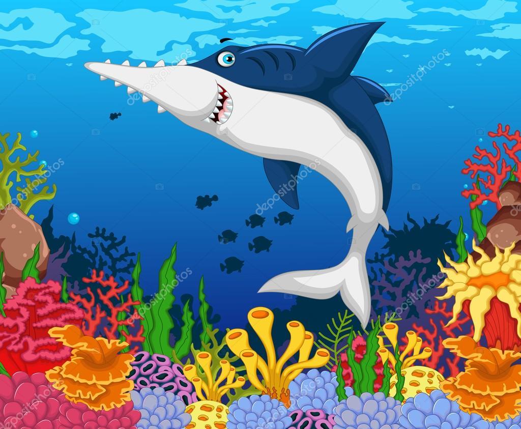 Sierras De Tiburones Divertidos Dibujos Animados Con El
