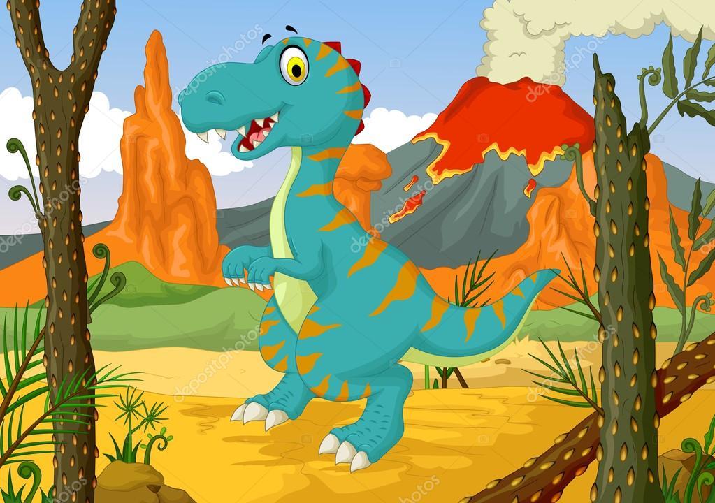Dessin anim dr le dinosaure avec fond de paysage de for t - Dinosaure dessin anime disney ...