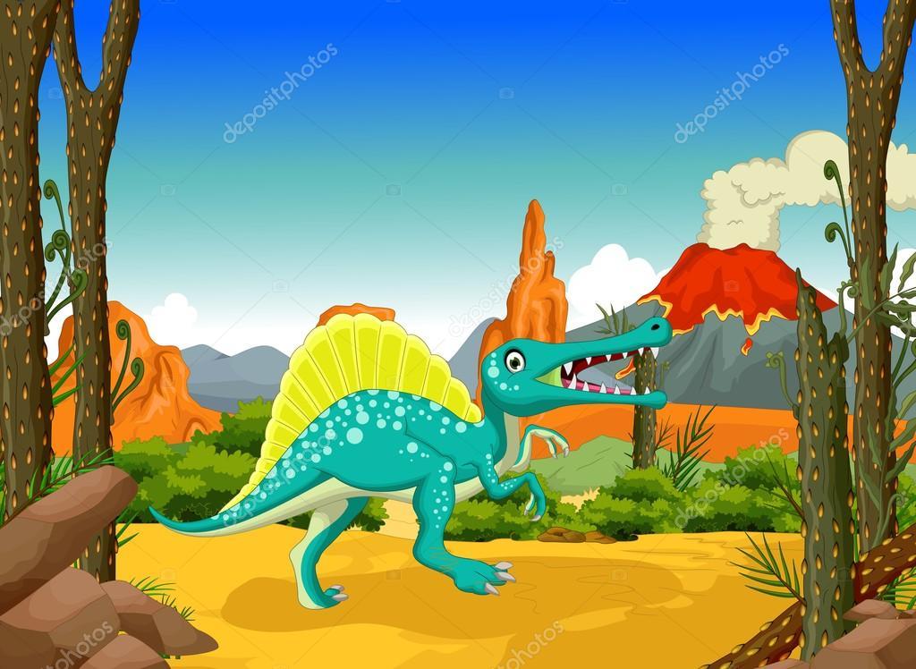 Dessin Animé Drôle Dinosaure Avec Fond De Paysage De Volcan