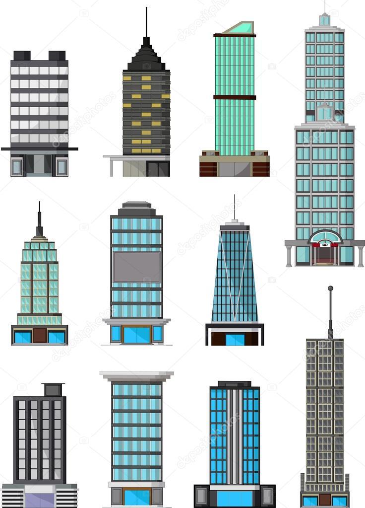 diferentes tipos de dibujos animados de edificios — Archivo Imágenes ...