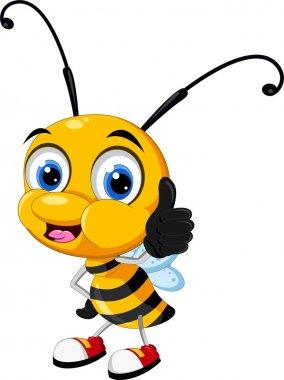 Little bee cartoon thumb up