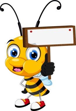 Little bee cartoon holding blank board