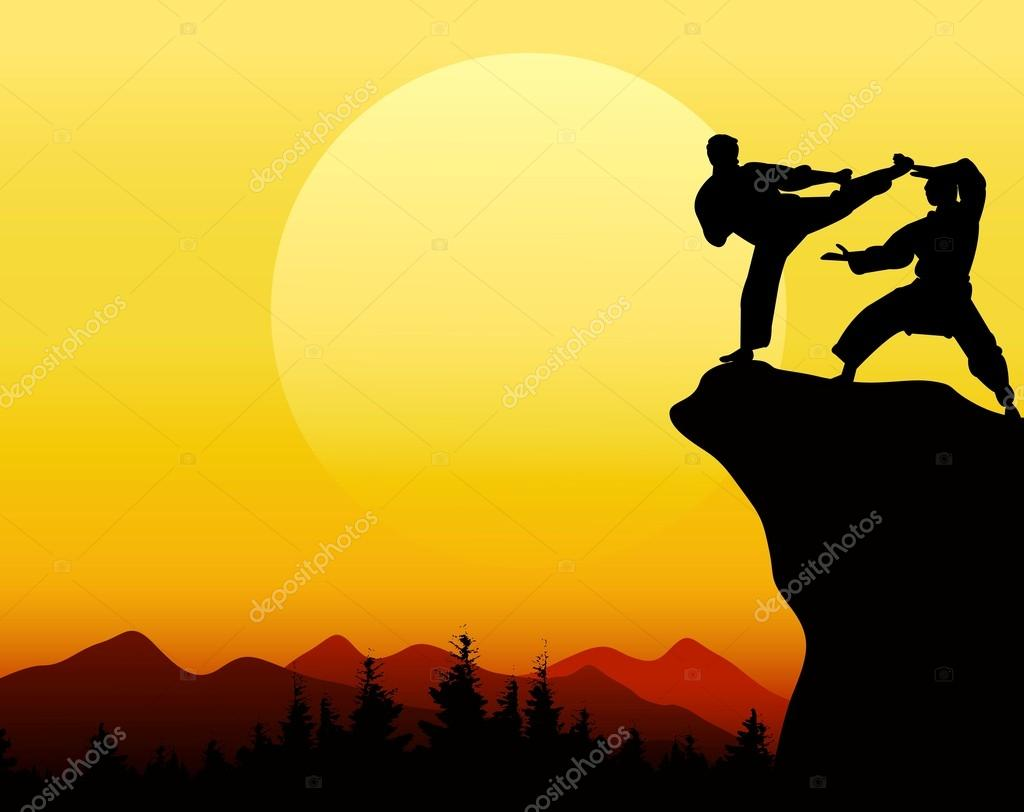 Man fight with sunset background