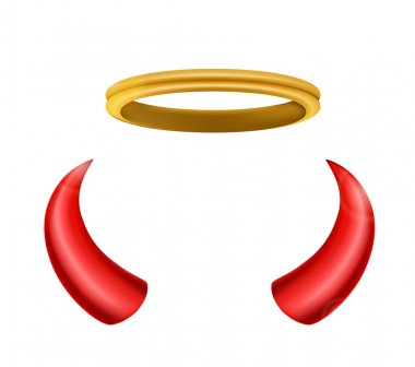 An angel halo and devil horns isolated for you design