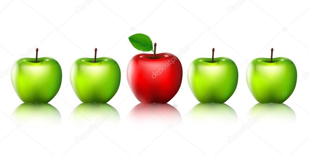 Manzanas verdes maduras y una manzana roja aislada para usted diseño ...