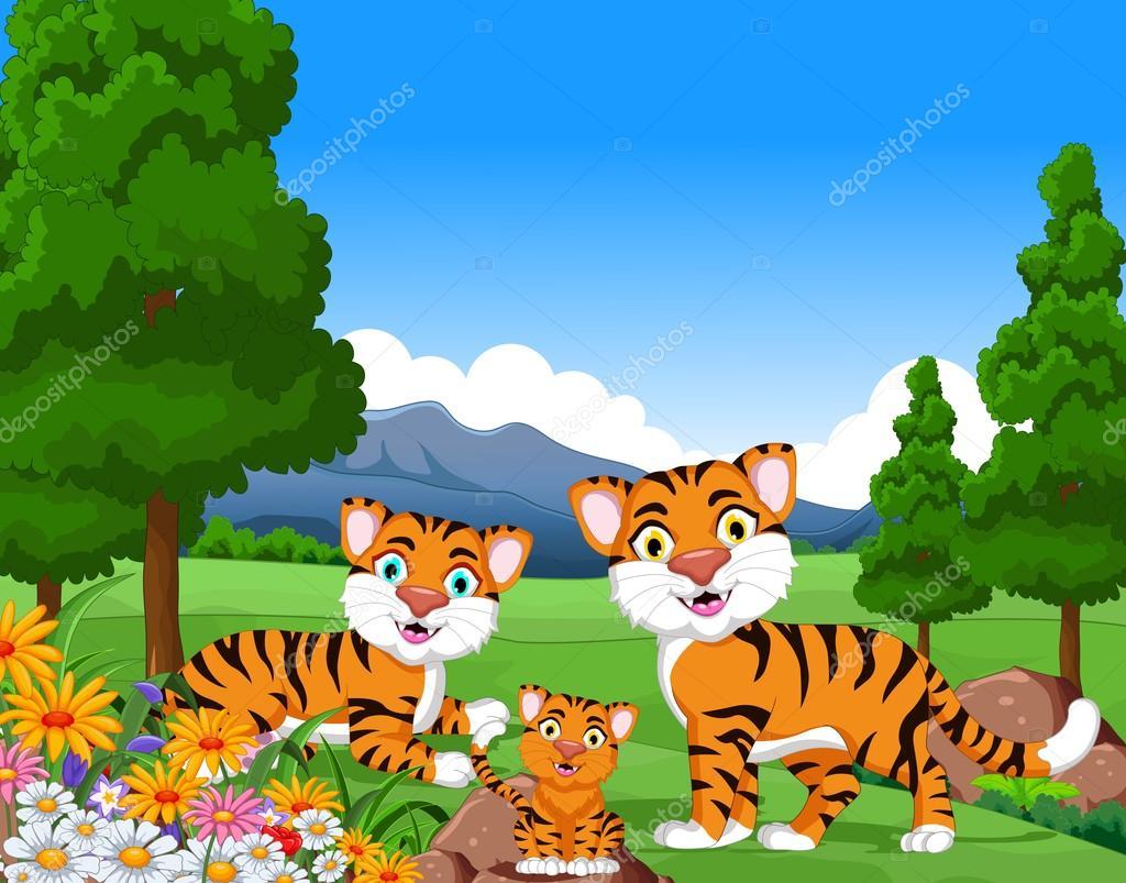 Tigre Dos Desenhos Animados Família Na Selva