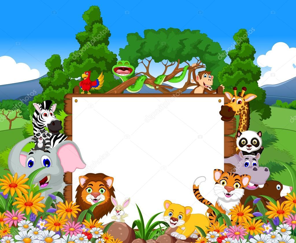 Fondos De Animales Animados: Animales De Dibujos Animados Con Fondo De Bosque Tropical