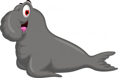 Cute elephant seals cartoon