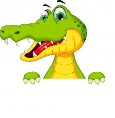 Cartoon crocodile with blank sign