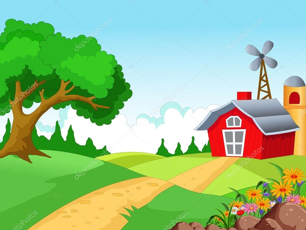 Farm background with farmer
