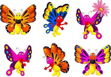 Cute butterfly cartoon collection set for you design