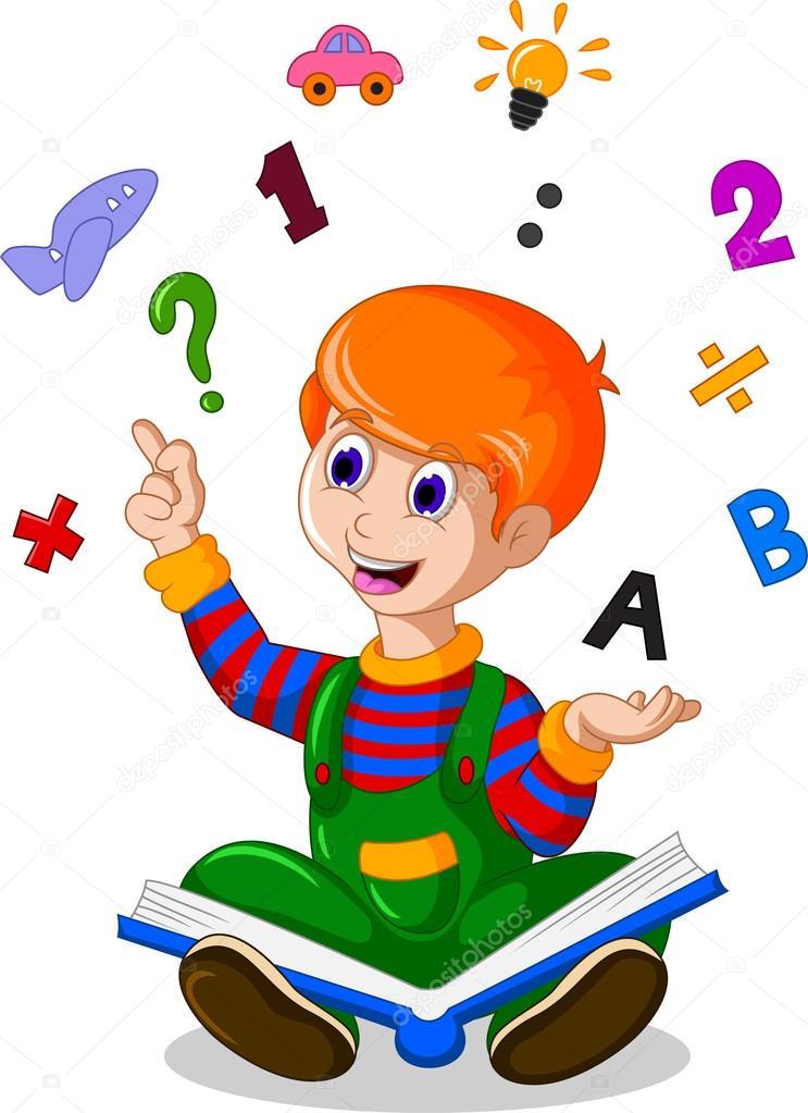 Bambini Che Leggono Un Libro Mentre Formazione Correlate Icone Al