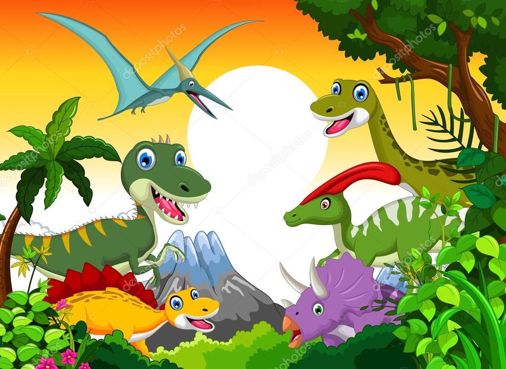 Dinosaur cartoon with landscape mount backgroun for you design
