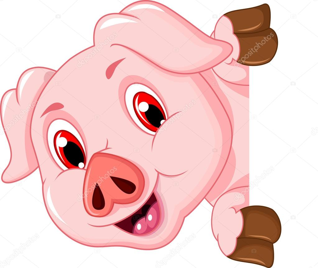 Funny pig cartoon with blank board