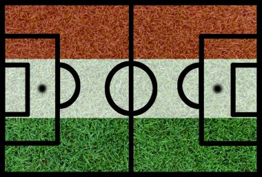 Football field textured by Hungary national flags on euro 2016