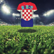 Croatia  national flag on t-shirt on football stadium — стоковое фото #108890650