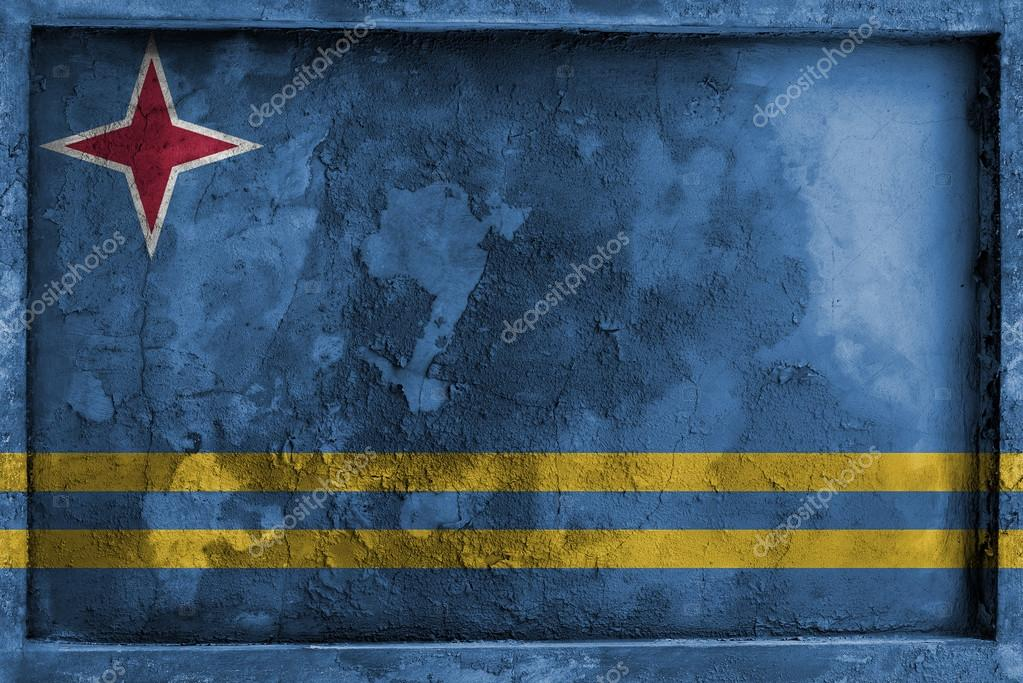 Grunge gothic rock frame with blending Aruba flag — Stock Photo ...