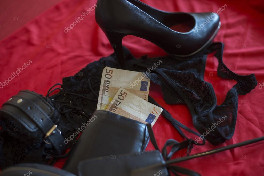 Prostitute or striptease concept, 50 euro banknot with sex