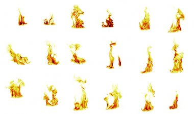 Flame compilation on white background